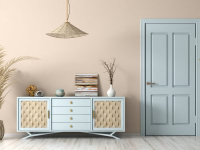 Modern,Interior,Of,Living,Room,With,Blue,Door,And,Dresser,