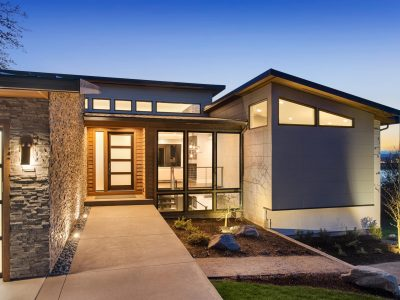 Beautiful,Modern,Style,Luxury,Home,At,Sunset,,Featuring,Entrance,And