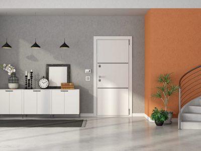 Entrance,Hallway,With,White,Front,Door,Door,,,Sideboard,And